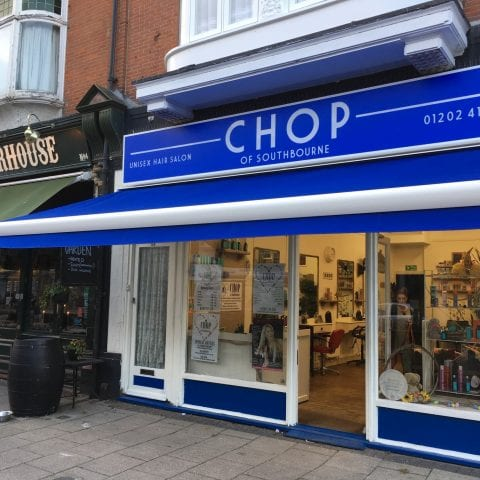 Custom canopy for Chop of Southbourne from Insignia Blinds