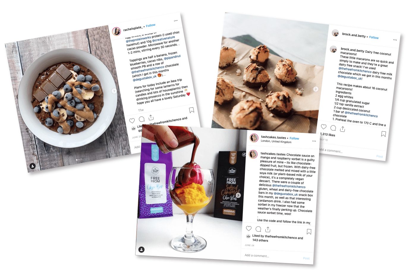 Arrangement of three recipes, as posted on Instagram